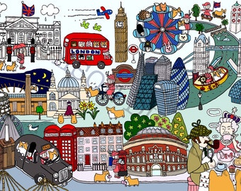Art Print - The Queen's London Day Out