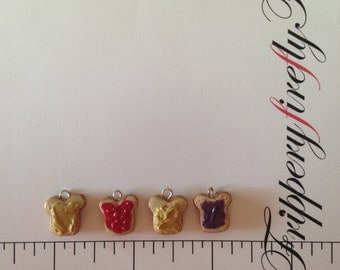 Miniature Peanut Butter & Jelly Toast Charms - Strawberry Jam Toast - Grape Jelly Toast - BFF Charms - PBJ Jewelry