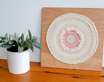 Woven Wall Hanging, Circular Weaving in White and Pink, 12 inch by 12 inch