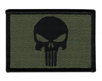 Velcro Punisher Patche - Black & Olive Drab Flag