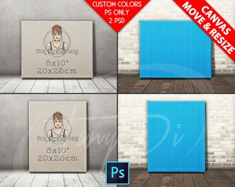 8x10 #F01 Realistic Movable Portrait Landscape Stretched Canvas on Wooden floor, Print Display Mockups, PS users only Custom colors, 16x20