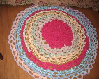 Shabby Chic Crochet Rug/Hippie Rug/Gypsy Rug
