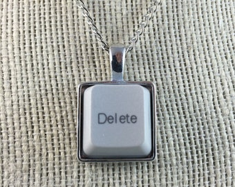 Techie Computer Key Necklace - Personalized With Desktop Key of Your Choice - Monogram Necklace