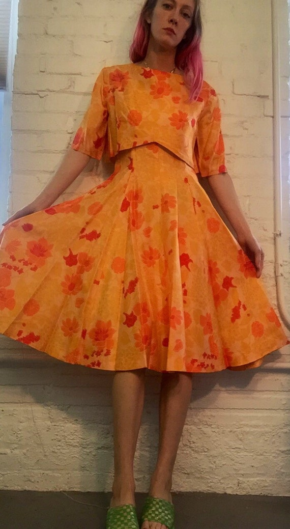 1960s handmade floral dress with crop jacket size S M