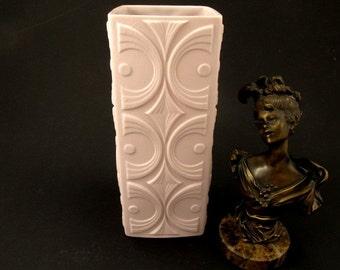 Rare Pastel Pink Op Art bisque porcelain vase by Scherzer, white bisque porcelain 70s