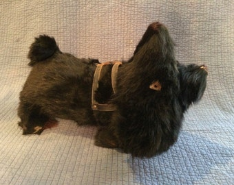 Antique Scottish Terrier Plush/Hay Plush Dog/Vintage Scottish Terrier