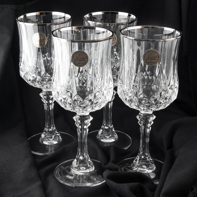 crystal water wine 7 goblets cristal d 39 arques france. Black Bedroom Furniture Sets. Home Design Ideas
