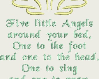 Five Little Angels Prayer Machine Embroidery Design Pattern for 5x7 hoop by Titania Creations. Instant Download