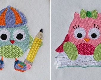 Back to School Set of Two Owls Machine Embroidery Designs Pattern 4x4 by Titania Creations. Instant Download.