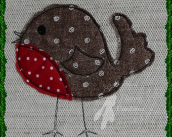 Raw Edge Applique Robin Machine Embroidery Design Pattern for 4x4 and 5x7 hoops by Titania Creations. Instant Download