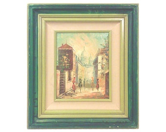 Framed Original Oil Painting, Vintage Street Scene
