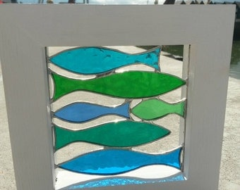 """Beautiful Large Framed Stained Glass Shoal of Green & Blue """"Sprats"""" Fish"""