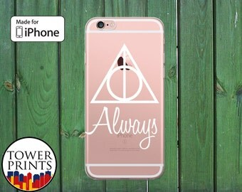 Always Quote Deathly Hallows Symbol Inspired White Clear Phone Case for iPhone 5/5s and 5c and iPhone 6 and 6 Plus and iPhone 6s iPhone SE