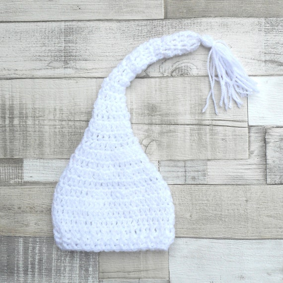 Unisex baby hat, white baby hat, white pixie hat, crochet hat,crocheted baby hat, Pixie baby hat, Elf hat, White crocheted hat,Newborn