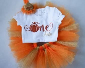 First Birthday Pumpkin -Our Little Pumpkin is Turning One - Pumpkin Birthday - Orange and Gold - Personalized - Birthday Girl - 1st Birthday