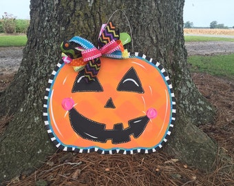 Pumpkin Jack-o-lantern Fall Door Hanger - Door Decor