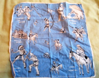 Vintage 1950's Davy Crockett Handkerchief by Walt Disney Productions