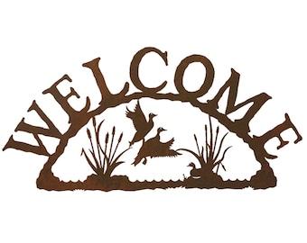 Ducks in CattailSteel Welcome Sign