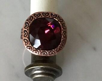 Burgandy Crystal Ring, Swarovski Burgandy Ring, Swarovski Red Crystal Ring