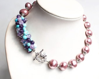"Necklace with amethyst, turquoise, pearls ""CANDY and FLOWER PERIOD"""