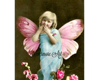 Girl Fairy Digital Collage Vintage Victorian Child Ephemera Alter Art Instant Download  Printable  Image Scrapbooking Cards Digital Photo