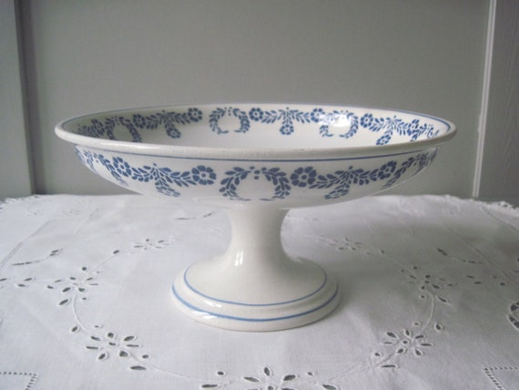 Reserved French Ironstone Cake Stand White Blue By