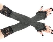 Long gray black lace velvet fingerless gloves arm warmers gothic burlesque goth bridal elegant lolita glove, womens evening gloves 1020L