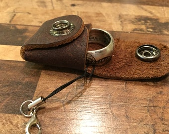 Leather Ring Satchel Keychain