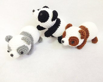 Cute Panda gang Crochet, nursery decor, Panda amigurumi, Crochet Panda, Handmade crochet animal, decor, gift, toys
