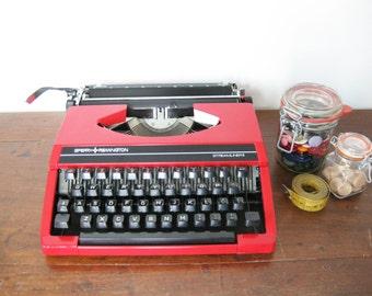 Working Typewriter Vintage Portable Red Sperry Remington Streamliner II 1977