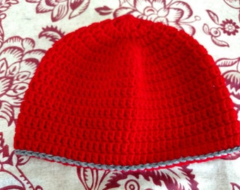 Red & Gray Crocheted Beanie
