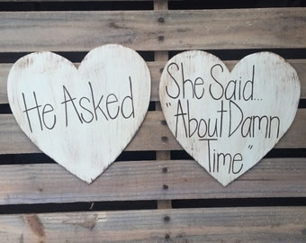 Rustic Engagement Photo Prop, Rustic Save the Date, Wedding Photography, Wedding Sign, He Asked/She Said Yes, Heart Signs, Save the Date