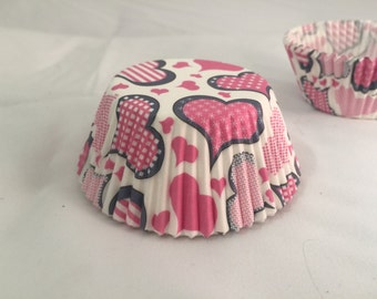 Valentines pink heart cupcake baking liners #25
