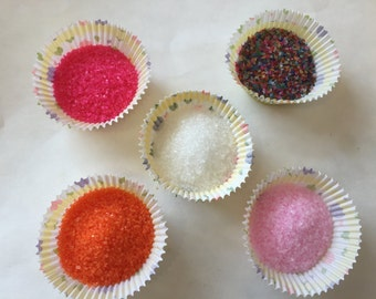 Edible Sugar Crystals Sprinkles decorate cupcakes cakes cakepops desserts Girl Princess party birthday