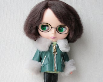 Blythe coat Leather doll jacket Green Blythe doll clothes Cute doll outfit Blythe doll dress Green leather doll outfit blythe fashion cloth