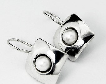 Sterling Silver Pearl Earrings Fresh Water Pearls Silver Handmade Jewelry