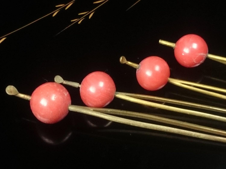 4 Pink Tama Kanzashi Accessories Geisha Hair Clip