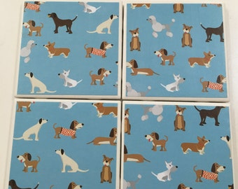Handmade Coasters, Tile Coasters, Ceramic Coasters, Dog Coasters, Puppy Coasters, Blue Coasters, Hostess Gift, Dogs, Puppies