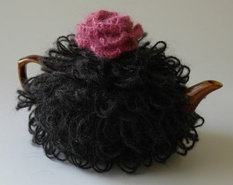 Black mohair tea cosy with a pink rose, medium tea cosy, knitted tea cozy, woollen teapot cosy