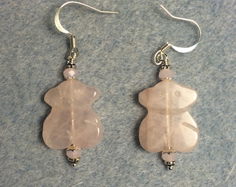 Rose quartz gemstone bunny bead earrings adorned with pink Chinese crystal beads.