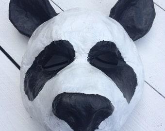 Panda mask/ animal mask/ paper mache animal mask/ masquerade