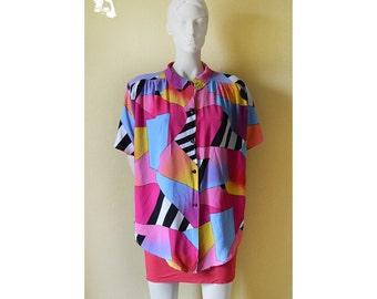 Vintage 80s blouse, amazing colors, bright abstract blouse, womans blouse, hot pink blouse,  abstract pattern blouse, summer party 28