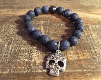 Skull Jewelry / Black Charcoal / Bead Bracelet / Black Jewelry