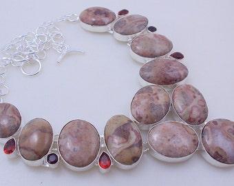 130-Gr Stunning Rosita Jasper-Garnet .925 Silver-Handmade-Necklace Jewelry (oj-162)