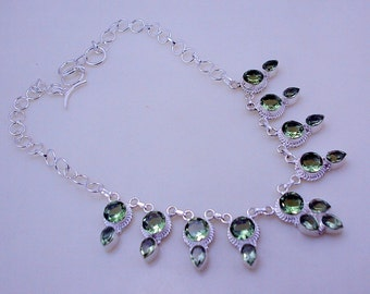 Green Amethyst Awesome Look Stone .925 Silver handmade Necklace Jewelery (f-307)