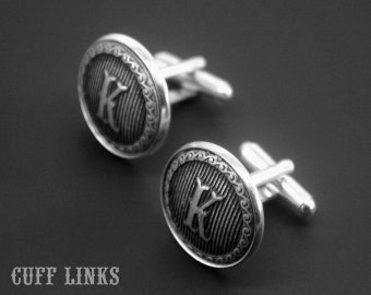 Mens Cufflinks -Initial Cuff Links -Letter Cufflinks -Monogram Cufflinks -Wedding Cuff links -Your Choice of A to Z