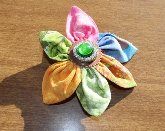 Multi Colored Fabric Flower Clip