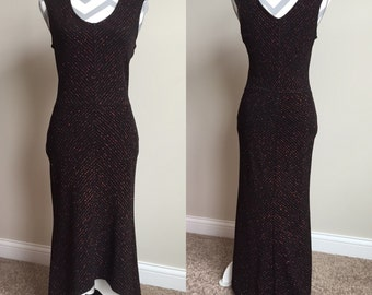 Vintage Black Gown with Red Sparkle
