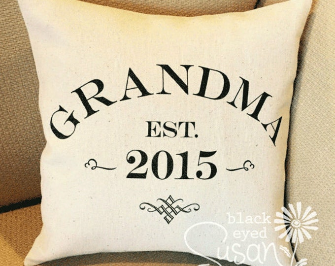 "Custom Grandma, Grandpa, Etc. Pillow Cover of Natural Canvas or Lined Burlap | 12""x12"" 16""x16"" 20""x20"" 