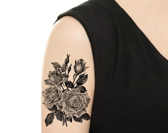 Temporary Tattoo - Vintage Floral Tattoo - Various Sizes and Patterns